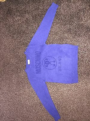 Baby Boys Blue Knit Moschino Jumper Age Size 18-24 Months