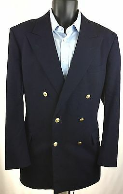 BROOKS BROTHERS Men's Double Breasted Jacket Sport Coat 36R Navy Blue Blazer