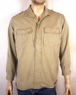 vtg 30s 40s WWII era Spanish Twill Military Shirt Work Chore Army pullover M/L
