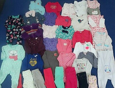 Mix of 6-9 months Long Sleeve Jackets Pants Shirts Sleepers Baby girl lot