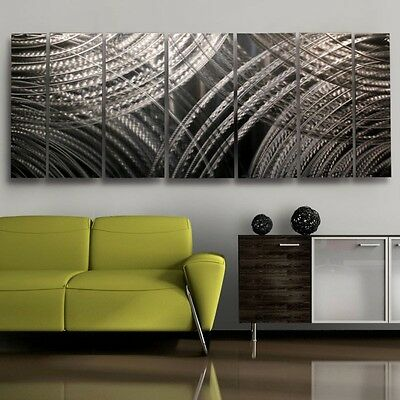 Silver Modern Abstract Etched Metal Wall Art -  Resonance by Jon Allen