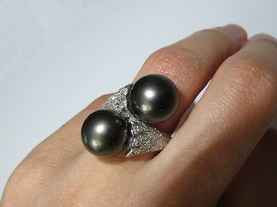 HUGE 14k White Gold Two 12 mm Tahitian Pearls Diamonds Bypass Ring Size 6.5