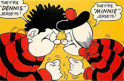 Postcard: Beano, Dennis The Menace And Minnie The Minx, Jerseys (Repro)