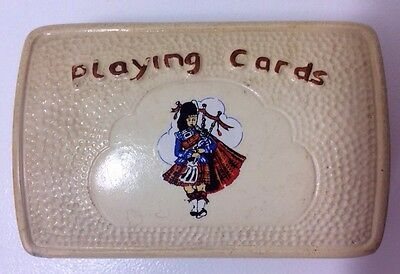 Vintage 1950s Manor Ware Scottish Bag Pipes Highland Playing Card Box Scotland