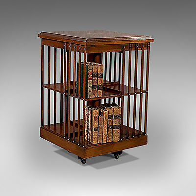 Antique Revolving Bookcase Burr Walnut & Marquetry Library Stand 20th C