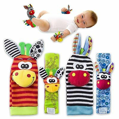 4 Piece Rattle Set Baby Sensory Toys Foot finder Socks & Wrist Rattles Bracelet