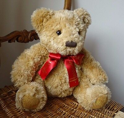 Collectable Souvenir Plush Brown Teddy Bear From Harrods Wearing Red Branded Bow