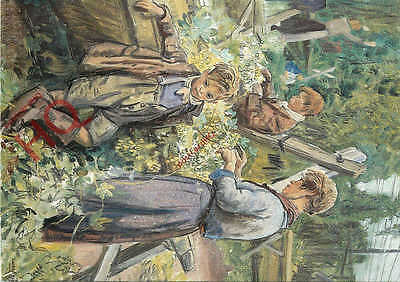 Postcard:-Laura Knight, Hop-Picking Family