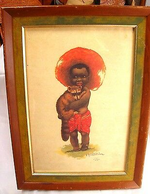 Vintage Black Americana Framed Print-Little Boy With Red Hat Holding A Raccoon