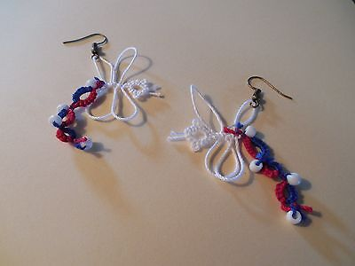 Tatted Earring Red White Blue Dragonflies by Dove Country Tatting Lace