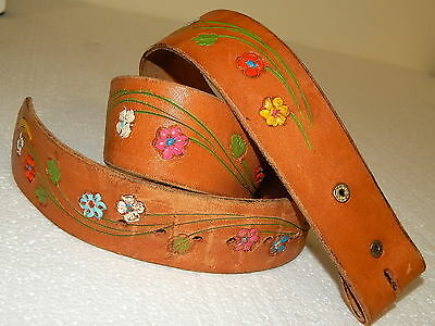 Vtg 60-70's Hand PAINTED FLOWERS Leather TOOLED HIPPIE Western BoHo Belt 34-36