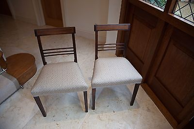 Antique Mahogany Chairs with Inlay Newly Reupholstered
