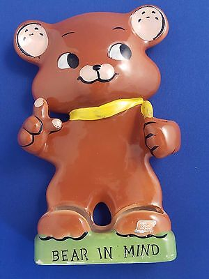 "Rare Vtg Holt Howard Brown ""bear In Mind"" Memo/pencil Holder Cub Kitchen Htf Evc"