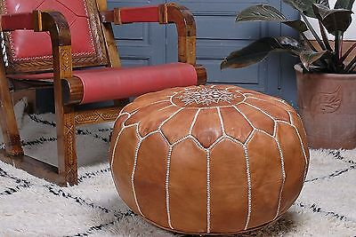 Moroccan Leather Pouf ottoman Footstool New Handmade Pouf, Hassock