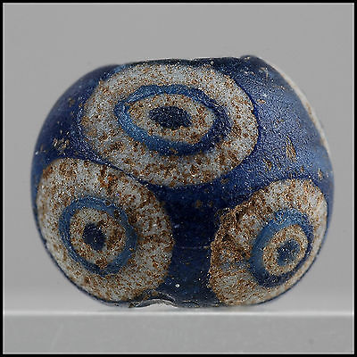 Ancient Glass Bead ~ Late Roman Mediterranean / Early Islamic ~  11.05 x11.05mm