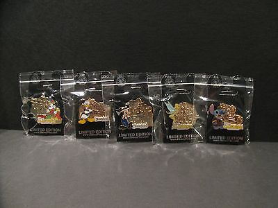 Lot of 5 Disney Cast Memeber Exclusive Pin of Month Gold Tone Pins