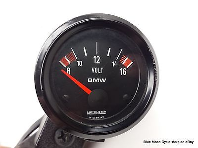 BMW working white faced airhead voltmeter with housing #06121703