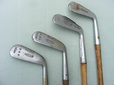 4 Vintage Antique Hickory Shaft Golf Clubs Irons  Dwb ,