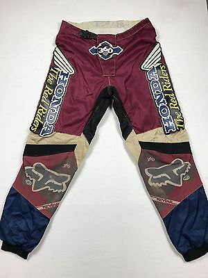 "Vintage 90s Fox Racing HRC Honda ""The Red Riders"" Patched Motocross Pants SZ.32"