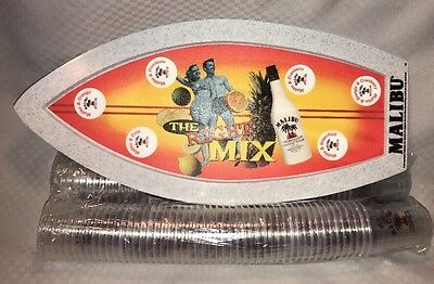 Malibu Rum Surfboard Drink Tray With 102 Cups Party Serving Promo Samples