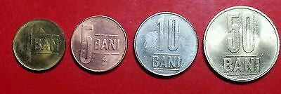 Romania 1, 5, 10 and 50 bani coins