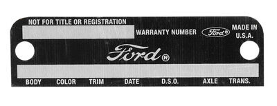 NEW! Fairlane Mustang Warranty tag Data Plate 1968 1969 Stamped Door Info Body..
