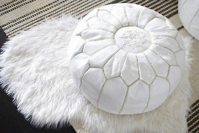 Moroccan Leather pouf ottoman with top embroidery Footstool WHITE STITCHED handm