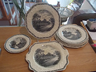 """9 Pieces of CROWN DUCAL """"Rural England"""" Assorted Plates-Gainsborough Shape"""