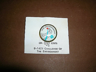 """Vintage Girl Scout 1963-1980 """"The Environment"""" Cadette CHALLENGE PIN New!"""