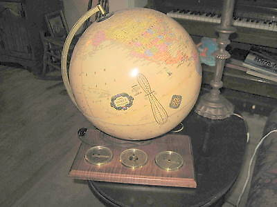 Cram's Antique Light Up World Globe Weather Station W/ Thermometer & Barometer