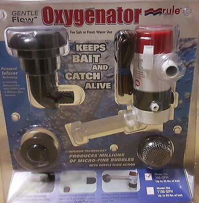 "Recirculating Oxygenator Livewell Bait Pump Kit 700 GPH 3/4"" Hose Rule 255"