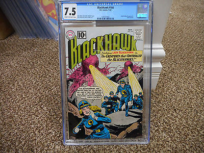 Blackhawk 166 cgc 7.5 DC 1961 early Lady Blackhawk on cover HOT JLA TV movie VF