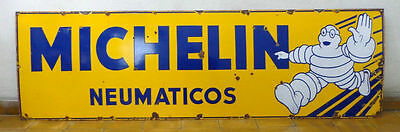 NICE OLD MICHELIN BIBENDUM ENAMEL PORCELAIN SIGN 1930's. HUGE!!
