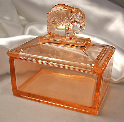 Vintage PINK GLASS ELEPHANT Trinket Box~Textured Elephant Lid~Great VANITY DISH!