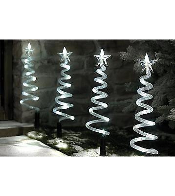 4 Ice White LED Lights Spiral Path Stake Outdoor Christmas Decorations Garden