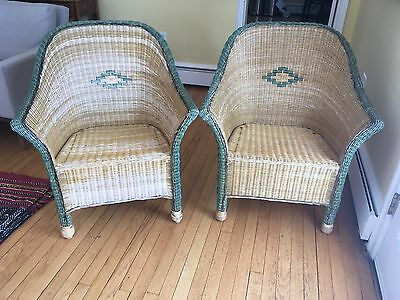 2 Green and Tan Vintage Wicker Rattan Chairs