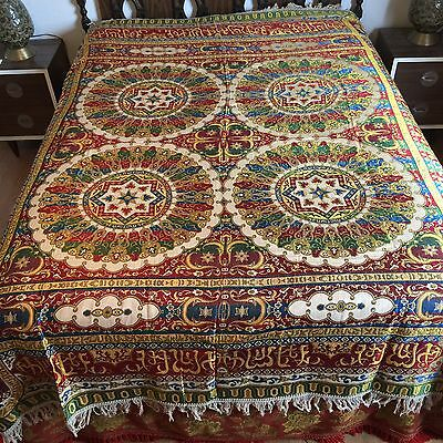 Turkish Textile Embroidered Coverlet Tablecloth Floor Cloth Fringed Vintage