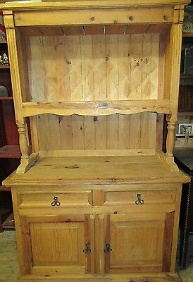 Excellent solid Mexican pine kitchen dresser bookcase above cupboard below