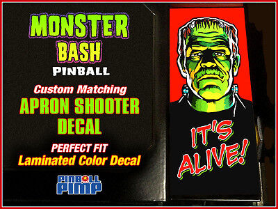 Williams MONSTER BASH Pinball -  FRANKIE - Custom Apron Shooter DECAL MOD!