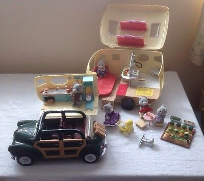 Sylvanian Families Caravan and Car With Grey Bear Family And Lots Of Accessories