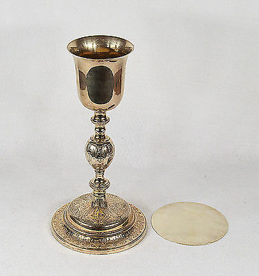 Antique Silver Gilt Engraved Communion Chalice and Paten Set