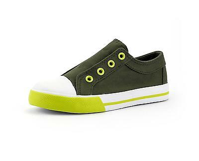 Unisex Boys or Girls Shoes Elastic Slip On Fashion Sneaker Army Green little kid