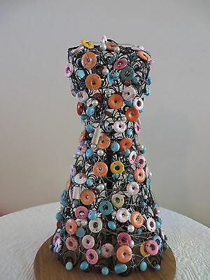 Vintage Metal Decorative Beaded Dress Form Shabby Chic Jewelry Display Mannequin