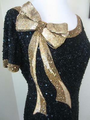 Black Beaded Cocktail Party Wiggle Dress w/ Huge Gold Sequin Bow Vintage 80's M