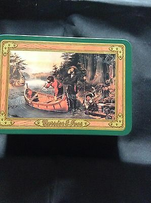 Currier & Ives Tin with Two Sets of Playing Cards and Poker Chips           #32