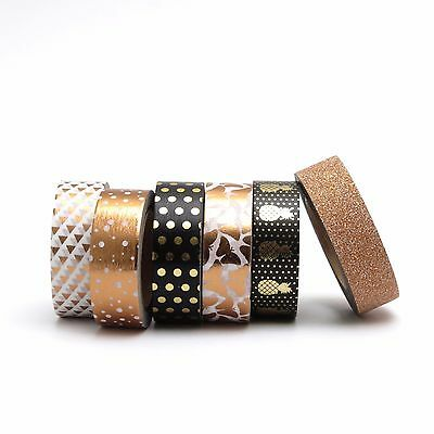 Washi Tape Copper Black Rose Gold Bronze Pineapples Polka Dots Set 6 x 10m