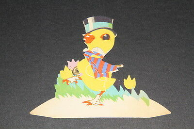 VINTAGE SPRING CHICK PAPER PLACECARD DIECUT, wearing top hat & cane, suit, USA