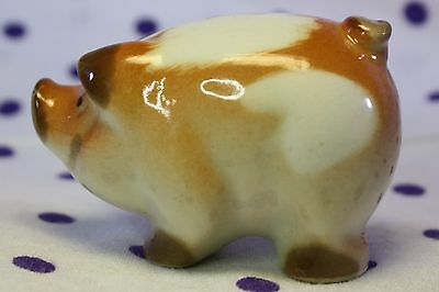 VTG Brown & White Spotted Spots PIG Figurine Lomonosov Porcelain Russian USSR