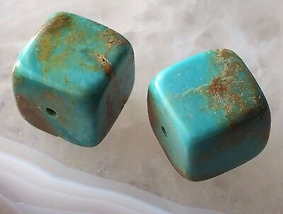 BLUE TURQUOISE Natural Gemstone Cube 9.5mm Organic Earthy Tribal BEADS Pair