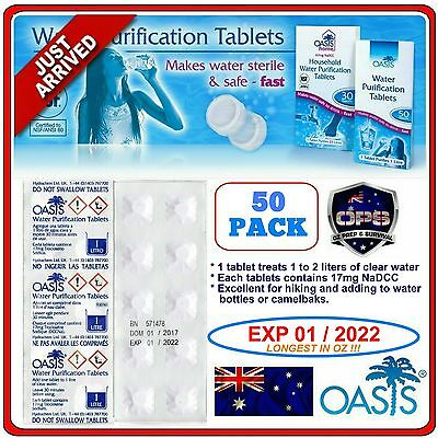 Oasis Water Purification Tablets 50 Pk Survival Hiking Camping Purifier Prepper